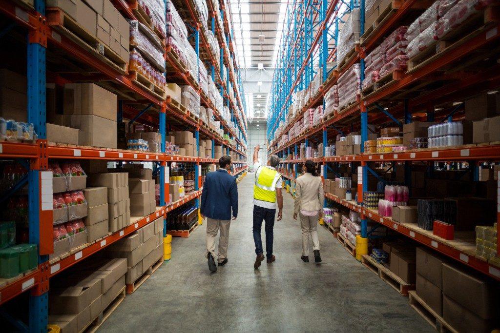 Inside a logistics warehouse